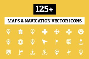 125+ Maps and Navigation Vector Icon