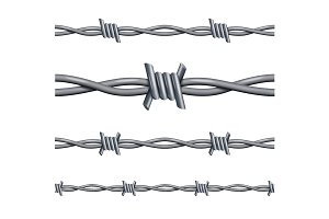 Realistic 3d Barbed Wire Line Set.