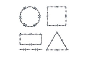 Realistic 3d Barbed Wire Frames Set.