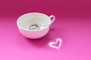 Tea white cup with love heart.