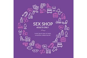 Sex Shop Round Design Template