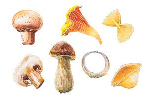 Watercolor mushrooms collection
