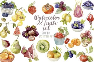 Watercolor 24 fruits set