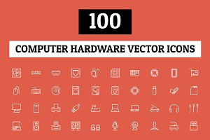 100 Computer Hardware Vector Icons