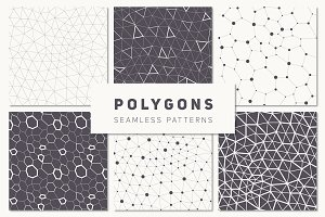 Polygons. Seamless Patterns Set