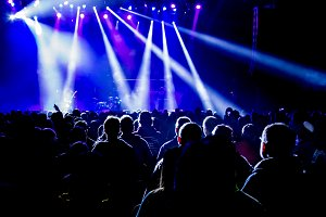 Crowd Silhouette and Stage Lights