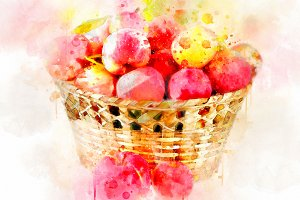 Watercolor Illustration Apples