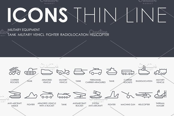 Military Equipment Thinline Icons