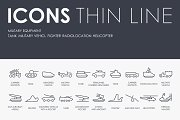 Military equipment thinline icons