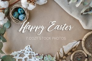 {Happy Easter} flat-lay photo bundge