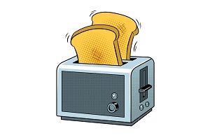 Toaster with toast pop art vector illustration