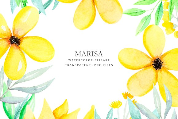Clipart watercolor yellow flowers illustrations creative market clipart watercolor yellow flowers illustrations mightylinksfo