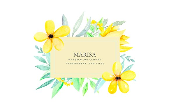 Clipart watercolor yellow flowers illustrations creative market mightylinksfo