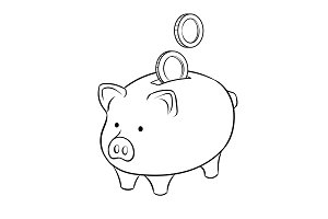 Piggy bank and golden coins coloring book vector