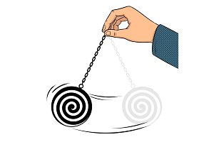 Hypnotizer pendulum in hand pop art vector