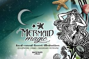 Mermaid Magic Linocuts