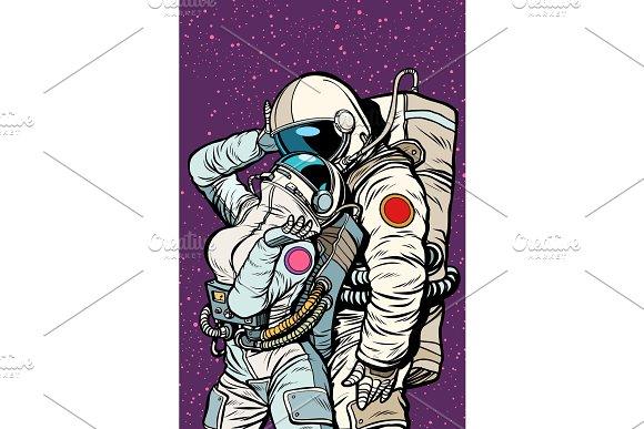 Cosmic Love Of Cosmonauts Man Hugs Woman