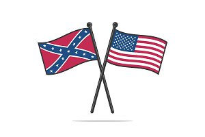 USA and Confederate flags