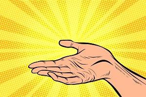 holding in hand, presentation gesture
