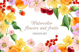 watercolor fruits and flowers