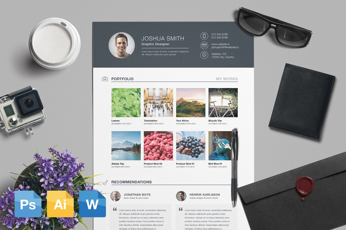 Resume & CV Template AI | PSD | DOCX ~ Resume Templates ~ Creative ...