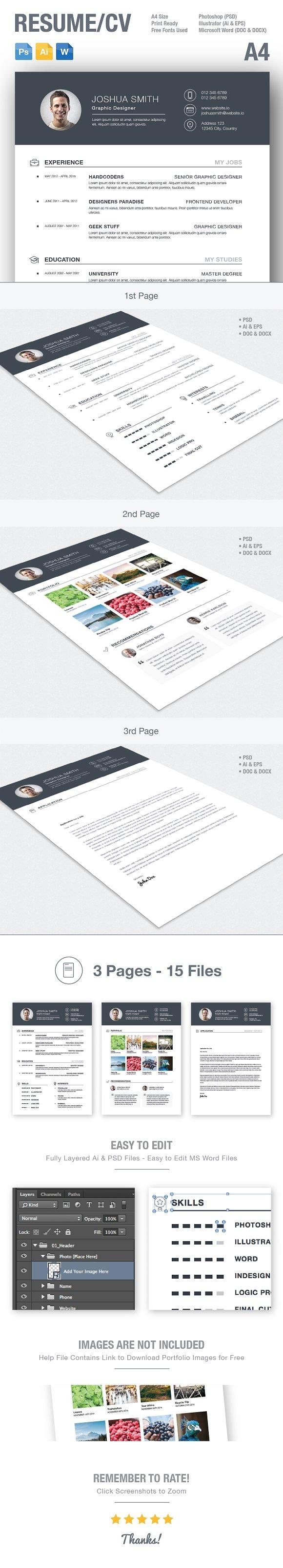 resume cv template ai psd docx resume templates creative market