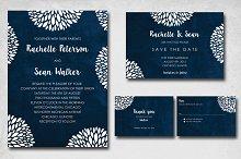 Blue Flowery Wedding Invite
