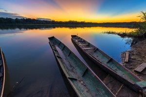 Amazon Sunset over Lake