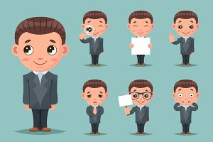 Cute businessman mascot happy
