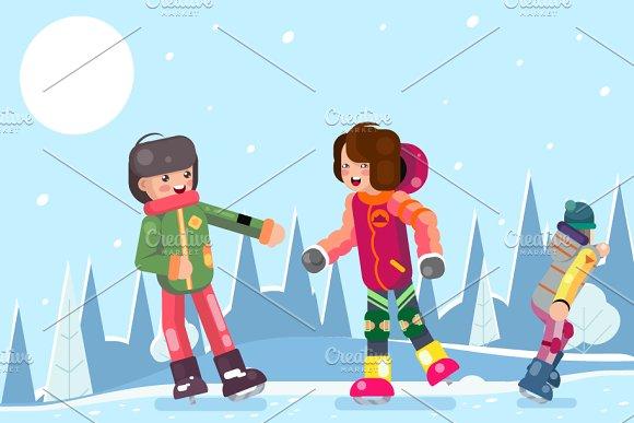 Teenagers Guy Girl Characters Skate