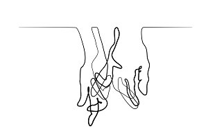 Line drawing of holding hands