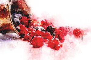 Watercolor Illustration Berries