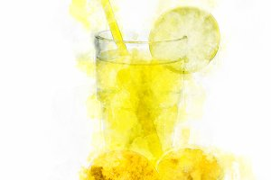 Watercolor Illustration Lemonade