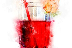 Watercolor Illustration Red Juice