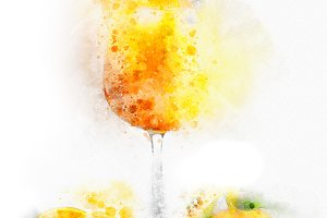 Watercolor Illustration Orange Juice