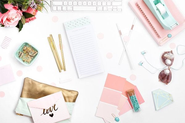 Pink and Mint Office Styled Stock 0…