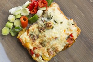 Vegetable lasagna in a glass