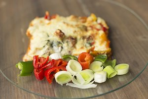 Vegetable lasagna in a glass dish
