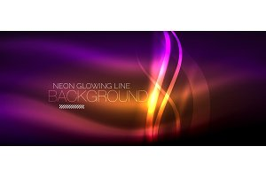 Neon purple elegant smooth wave lines digital abstract background