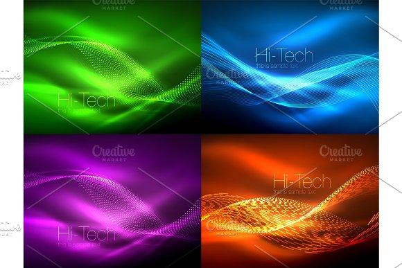 Set Of Neon Flowing Waves