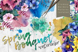 Bouquet PNG watercolor flower set