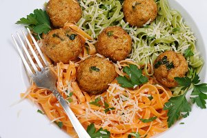 Spaghetti with cheese and meatballs