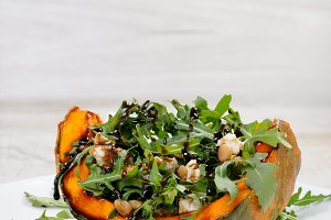 wedge baked of pumpkin with arugula