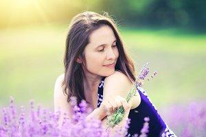 Beautiful woman in lavender field.