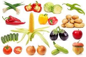 Set useful fruits and vegetables