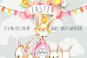 Easter Bunny Clipart Watercolor