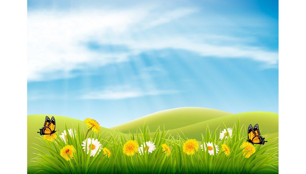 Spring Nature Landscape Background Illustrations