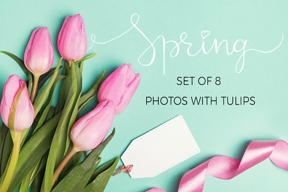 Spring set of photos with tulips