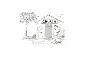Samoan Boy Stand By Church Cartoon