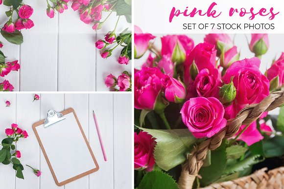 Stock photo set with roses